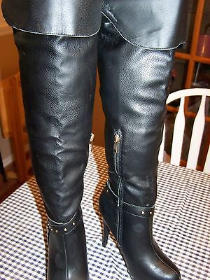 Luxe By Justfab Sandrine Womens Knee High Boots Sz 8 5 Black Synthetic 5  Heel