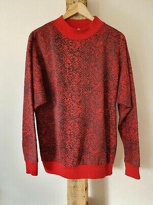 80s Sweatshirts, Sweaters, Vests | Women Vintage 80s Red Crew Neck Jumper Snake Skin Print $25.99 AT vintagedancer.com