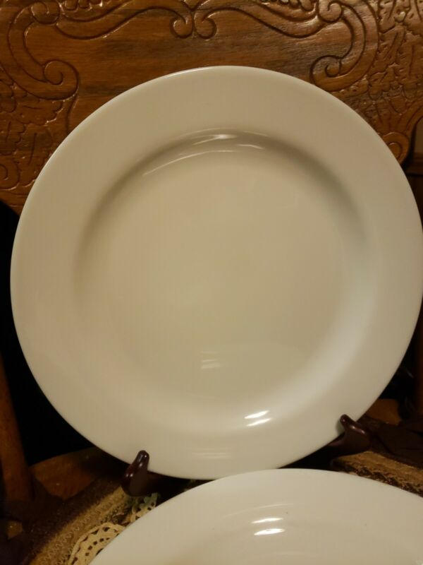 """LOT OF (4) ARCOPAL FRANCE MILK WHITE 10.5""""  DINNER PLATES DISCONTINUED"""