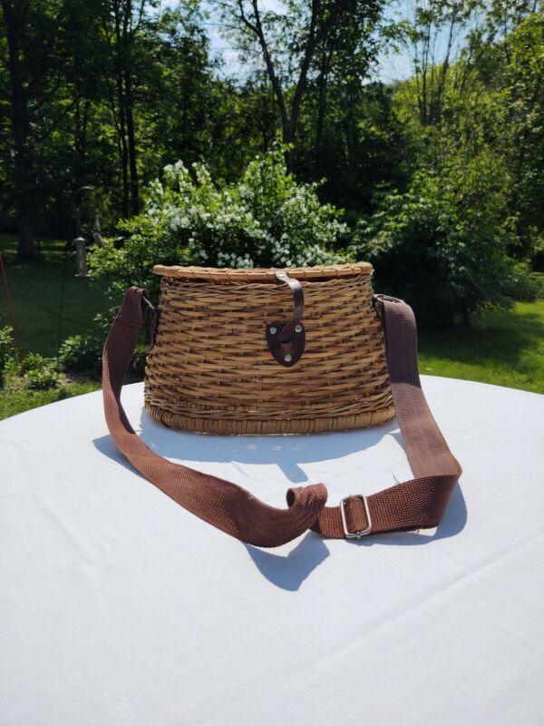 Vintage Fishing WICKER Basket With  adjustable Strap