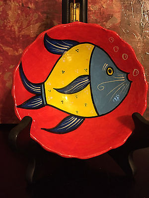 """Happy Cat Food Mini Pasta Soup Bowl Plate Dish Red Blue Fish Hand painted 5.5"""""""