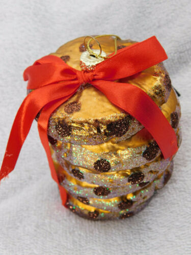 Cookies Chocolate Chip Blown Glass Christmas Tree Ornament Robert Stanley New