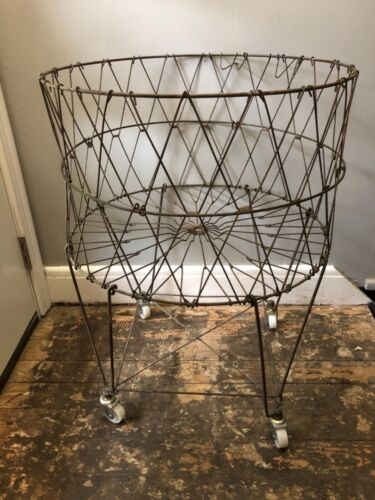 Vintage Mid Century Style Collapsible Laundry Basket Folding Metal Cart