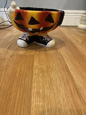 Halloween Trick Or Treat Smell My Feet Large Pumpkin Ceramic Bowl
