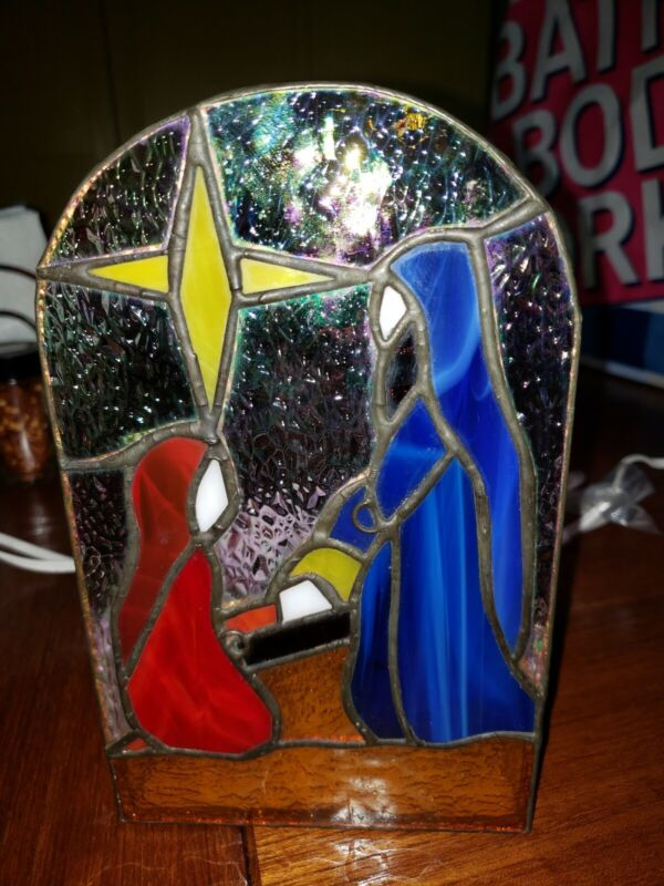 Stained Glass Holy Nativity Night Light by Galaxy LTD 1997 Holiday Christmas