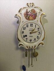 Beautiful Rare Vintage Wintermantel Germany Mini Porcelain  Wall Clock Working .