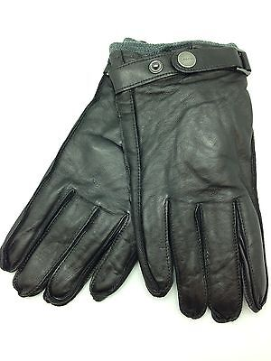 New Calvin Klein Mens Leather Classic Dark Brown Winter Gloves M Strap Hand