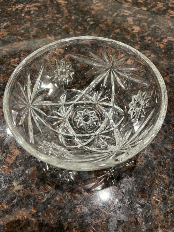 Vintage Anchor Hocking Star of David Clear Glass Serving Bowl
