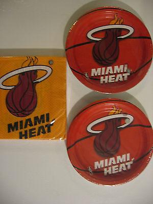 plies Includes Plates & Napkins NEW ! (Miami Heat Party Supplies)