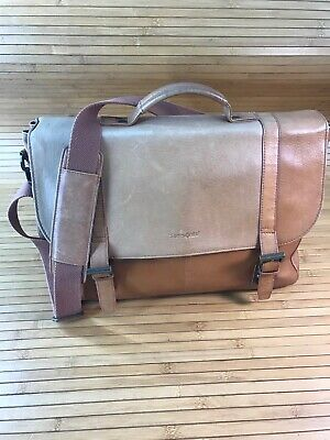 Samsonite Gorgeous Tan Leather Saddlebag Briefcase Messenger Laptop Case NICE!#V