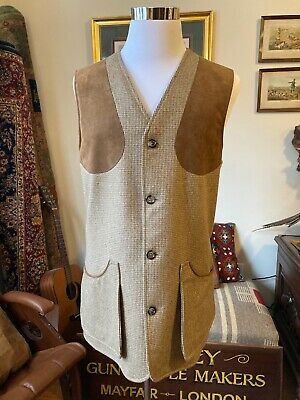 Holland & Holland Tweed Shooting Vest, Brown, Size L