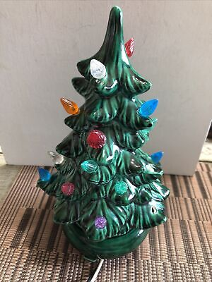 Vintage Holland Mold Ceramic Tabletop Light Up Christmas Tree Colored Lights