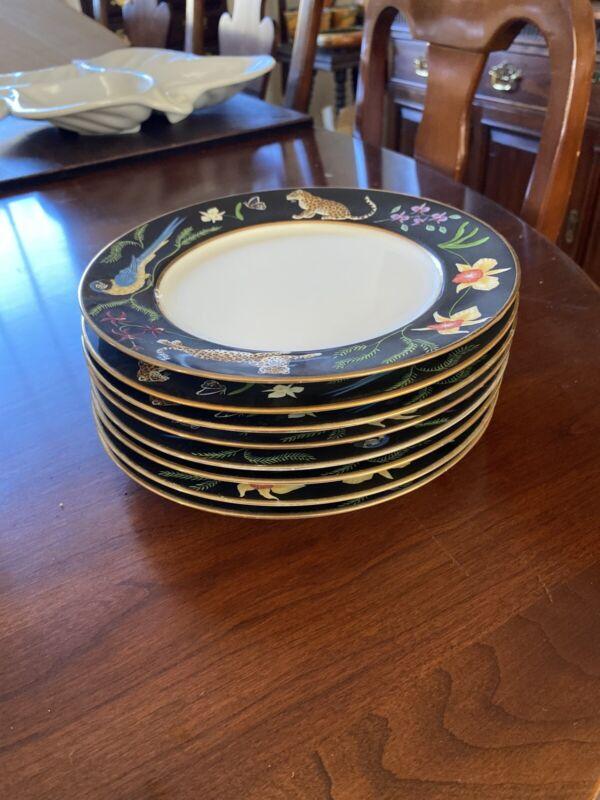 "Exquisite LYNN CHASE China JAGUAR JUNGLE Pattern Salad Plate - 8"" Set Of 8"