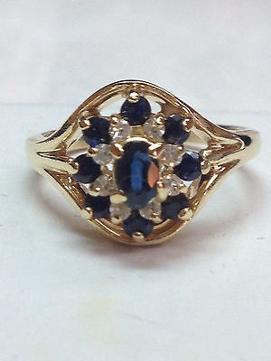 1 ct ANTIQUE natural (REAL) DIAMOND + sapphire ladies ring SOLID yellow GOLD