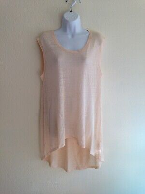 The Fisher Project Linen Blend L Large Peach Tank Top Tunic High Low Eileen Y60