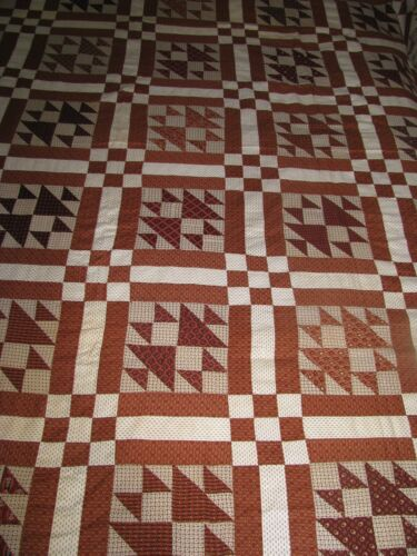 ANTIQUE  QUILT TOP DOUBLE X PATTERN 1860-80 BROWN CALICO PRINTS HAND DONE COTTON