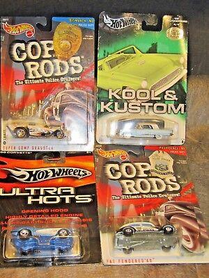 Hot Wheels large. cards- super comp, 58 T-bird, & vet, w/fat fender 4-cards