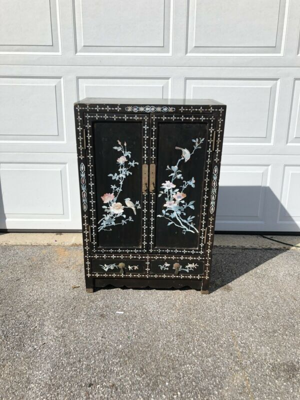 Vintage Chinoiserie Mother Of Pearl Inlay Black Lacquer Cabinet with Two Drawers