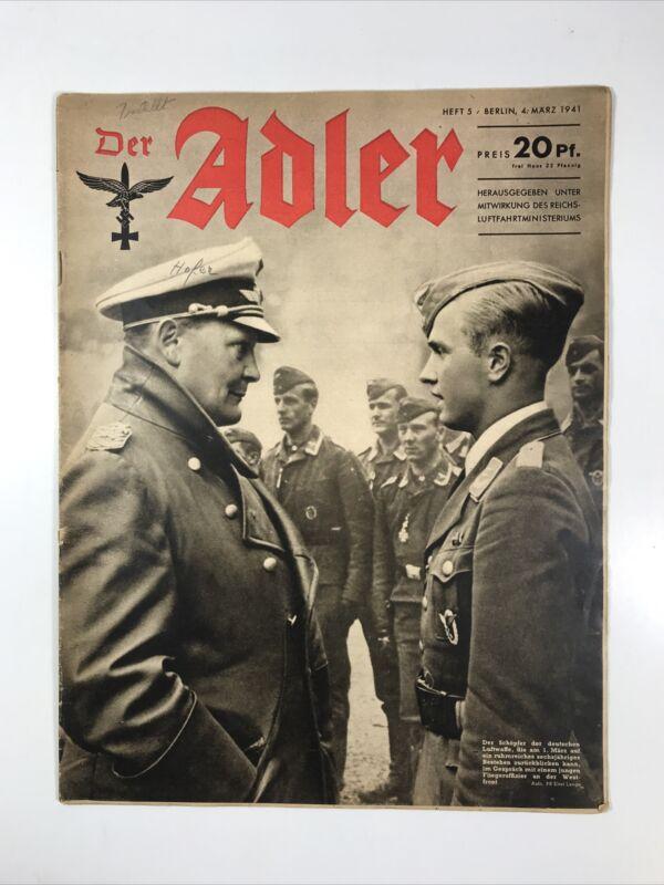 Der Adler Magazine (March 4, 1941) Nazi Germany Luftwaffe WW2