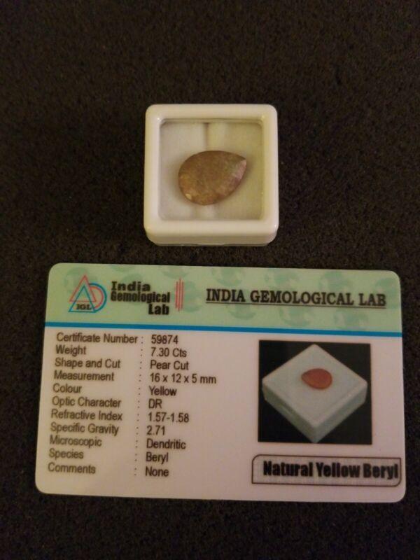 Natural Yellow Beryl Gemstone 7.30 Ct.