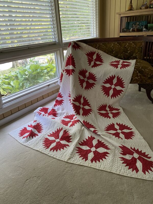 Antique Chips And Whetstones Quilt. Rare Pattern. Red and White. Outstanding!