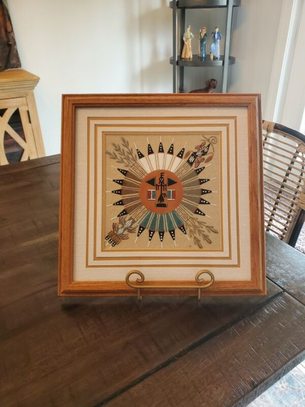 Vintage Signed Framed Authentic Navajo Sand Painting Pollen Boy On The Sun