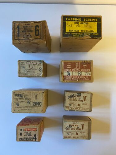 Antique Screws In Boxes Quantity 8; 1940's to 1960's; Lot # 3