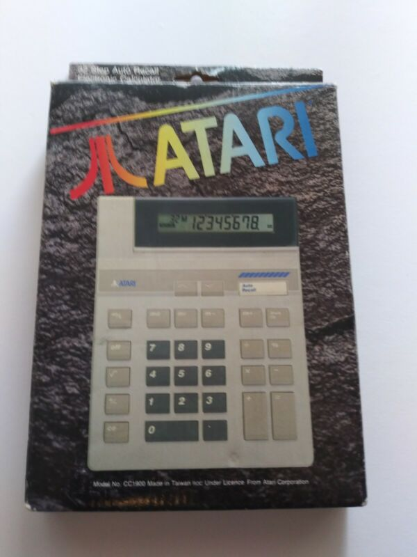 ATARI CALCULATOR model CC1900 Vintage Auto Recall Calculator In Original Box