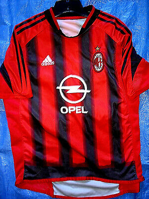 TAGLESS LARGE VINTAGE 2005 ADIDAS AC MILAN OPEL KAKA FOOTBALL SOCCER JERSEY image