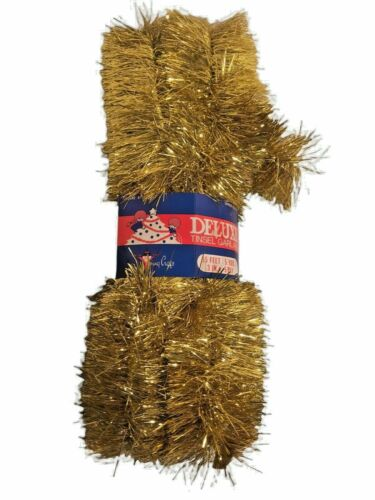 """Vintage NOS Gold Tinsel Garland Christmas Decor 3"""" Wide x 15 FT Long USA Unused"""