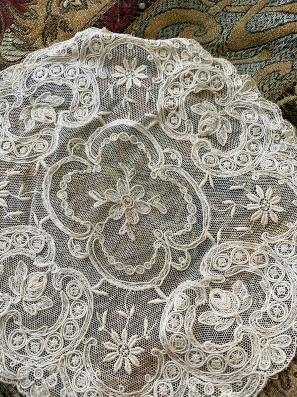 Antique French Net Tambour Lace Textile Round Floral Ornate Ecru Chic