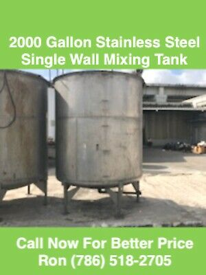 2000 Gallon Stainless Steel Tank Single Wall Mixing Tank
