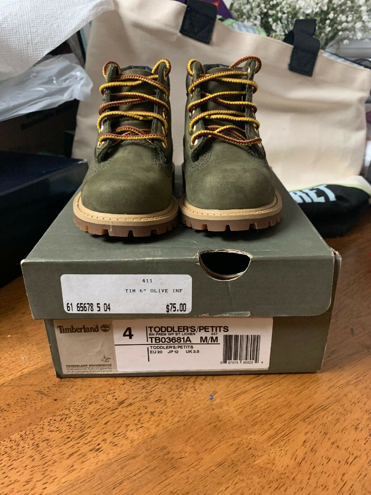 Timberland Olive Green Nubuck Lace-up Leather Boots / Little Kids Size 4