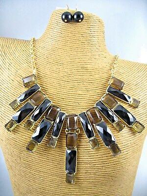 Modern Dark Glass Stone Gold Necklace Earrings Set Costume Women Jewelry