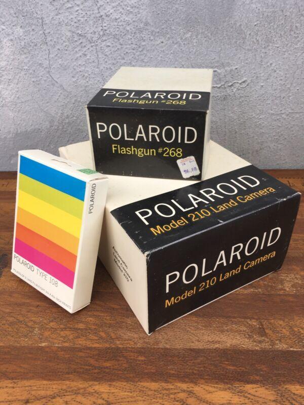 Vintage Polaroid Automatic Land Camera 210 Manual Papers Film Flash ORIGINAL BOX