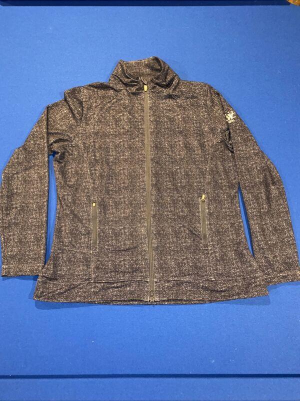 Peter Millar Women's Full Zip Performance Fleece Jacket Blue Heather Logo Sz XL