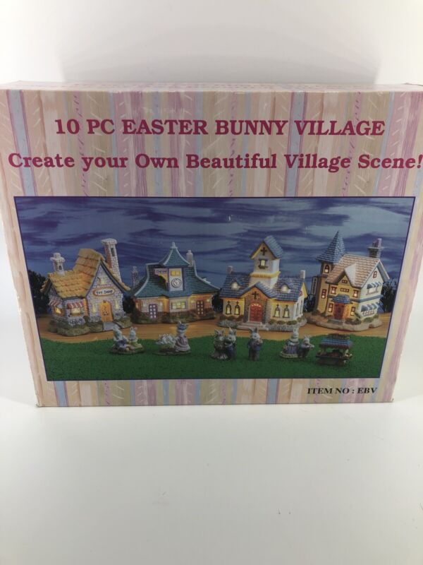 10 Piece Easter  Bunny Village Set Hand Painted Lighted Houses