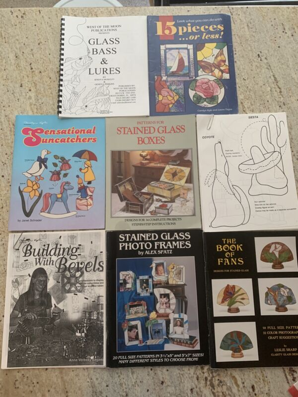 Lot Glass Patterns Books And Print Outs  Stained Glass Designs BOOKS