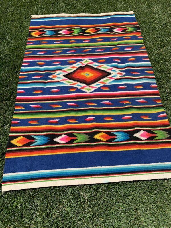 Vintage Mexican Saltillo Serape Wool Blanket Rug Tapestry Vibrant Heavy 56X86