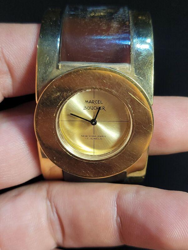 Vintage Marcel Boucher New York - Paris Ladies Watch 17 Jewels Gold-tone Hinged