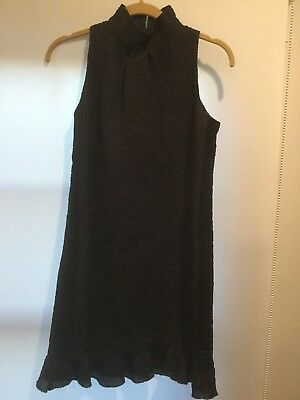 Chanel Black/Brown Silk Textured Dress New with Tags Size 34 Made in Italy
