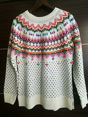 *NEW Talbots Women's Knit Holiday Christmas Ski Sweater Fair Isle Chevron Medium ()