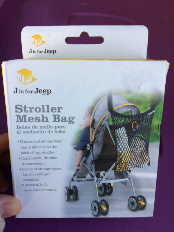 NEW J is for Jeep Universal Size Stroller Mesh Bag & Organizer Black Travel Toys