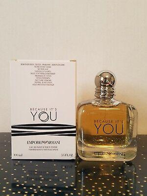 Because Its You By Armani 3.4 oz Eau de Parfum Pour Femme New in White Test Box