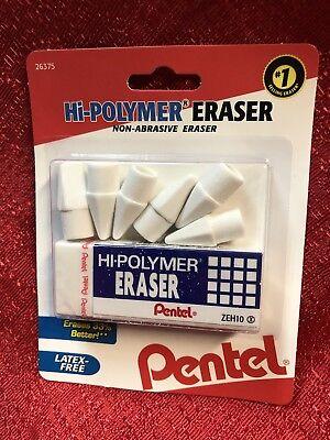 Pentel Hi-polymer Bar Eraser Plus 6 Pencil Cap Erasers Non-abrasive Latex Free