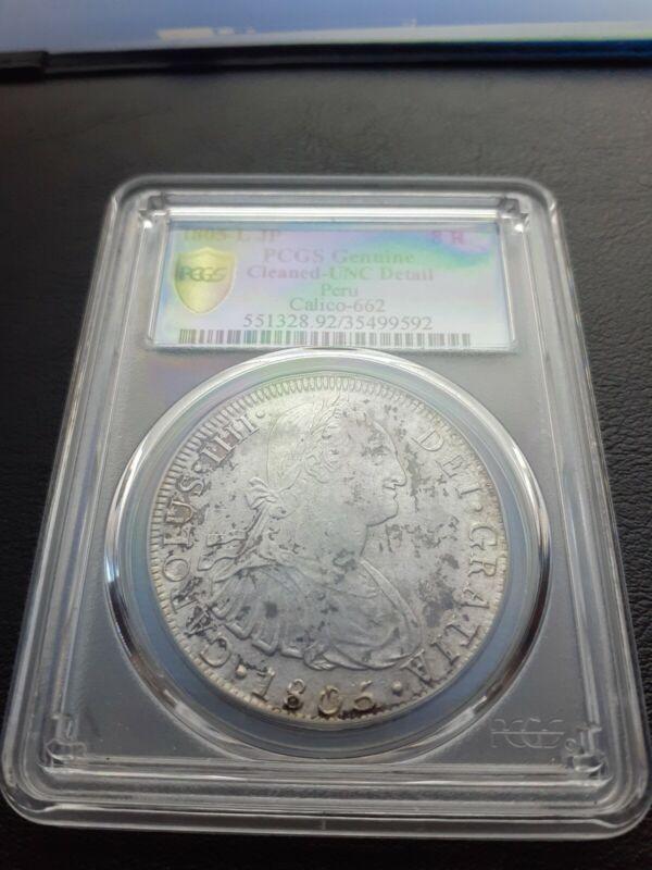 1805 L JP Peru 8 Reales PCGS Cleaned UNC