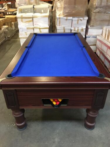 Pool Table with cues , rests, cue rack, two sets of balls, chalk. Full set.