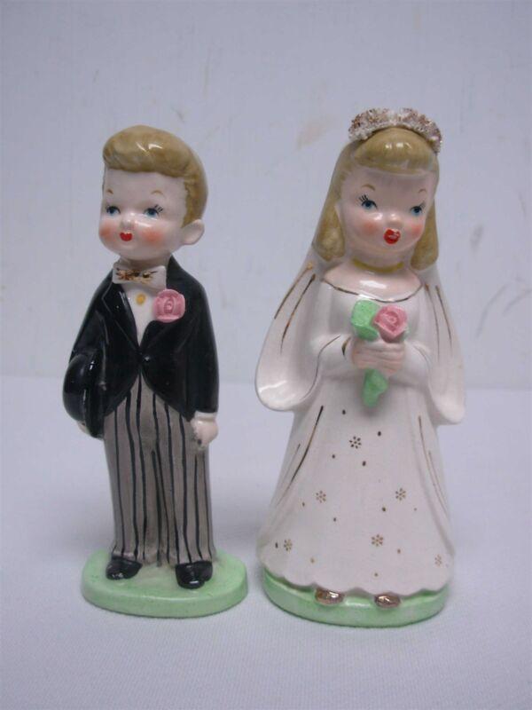 "VINTAGE NAPCO BRIDE & GROOM WEDDING CAKE TOPPER FIGURINES 5 1/2"""