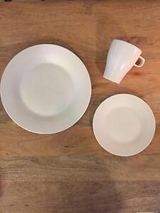 Set of 18 x White Dinner & Dessert Plates w/ Coffee Mugs Petersham Marrickville Area Preview