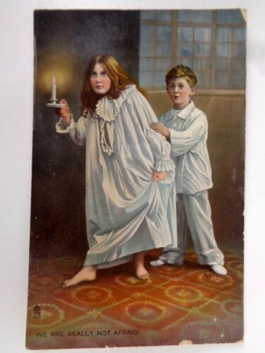 Vtg Tuck Halloween Postcard Series 8120 Boy Girl Not Afraid